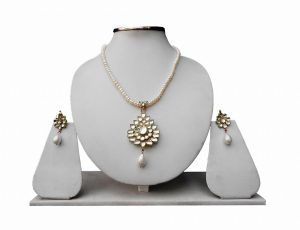 Designer White Beads Fashion Pendant Set With Fashion Earrings From India-0