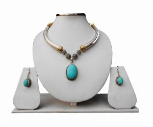 Elegant Semi Precious Turquoise Stone Necklace Pendant Set With Earrings for Wedding-0