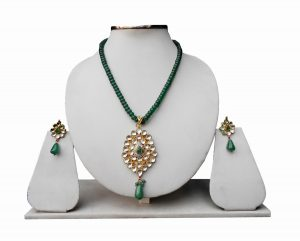 Green Bridal Fashion Pendant Set With Earrings for Woman-0