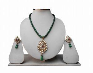 Gorgeous Designer Green Stone Wedding Pendant Set with Matching Earrings -0