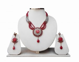 Gorgeous Kundan Pendant Pipe Necklace with Jhumkas From India in Red and Whtie Stones-0