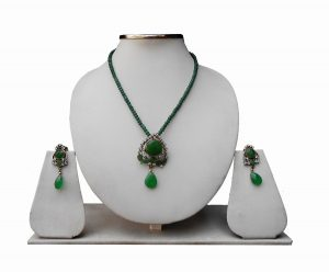 3 Line Designer Pendant Necklace Set with Green and White stone-0