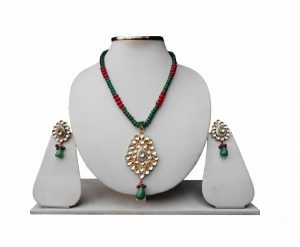 Buy Wedding Pendant Set in Green and Red Kundan Stones and Beads-0