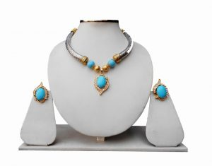 Turquoise Beaded Pipe Necklace Set with Fashion Pendant and Earrings for Women-0