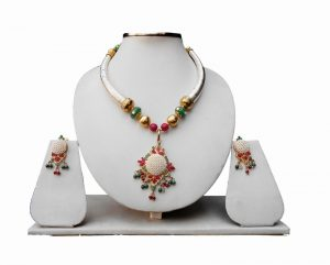 Pipe Necklace Set with Ruby, Emerald and Pearl Stones in Gold Plated Pendant and Earrings-0