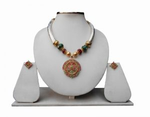 Gorgeous Gold Plated Pendant Pipe Necklace with Ruby and Emerald Stones with Earrings-0