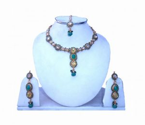 Fashionable Cute Polki Necklace Set in Stones with Earrings and Tika-0
