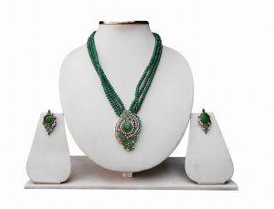 Beautiful Indian Style Red and Green Stone Pendant Set with Earrings-0