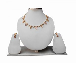 Traditional Indian American Diamond Bridal Necklace Set with Earrings-0