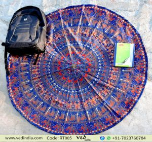 Blue and Red Elephant Round Tapestry