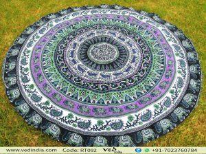Elephant Mandala Round Tapestry