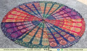 Multicolored Mandala Hippie Tapestry
