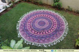 Pink & Purple Elephant Roundie Tapestry