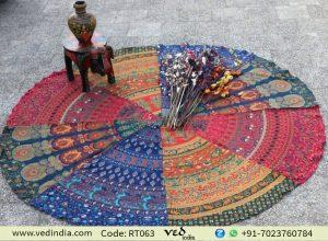 Multicolored Round Mandala Tapestry