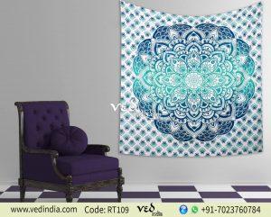 Aqua Ombre Mandala Tapestry Wall Hanging-0