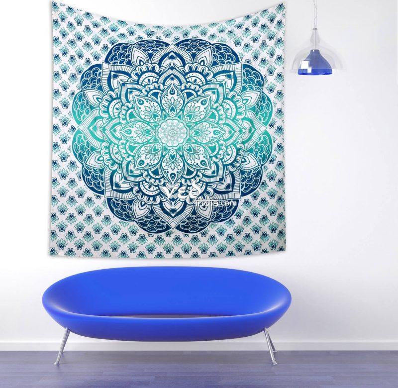 Aqua Ombre Mandala Tapestry Wall Hanging-3199