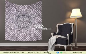 Black and White Ombre Circle Hippie Mandala Tapestry -0