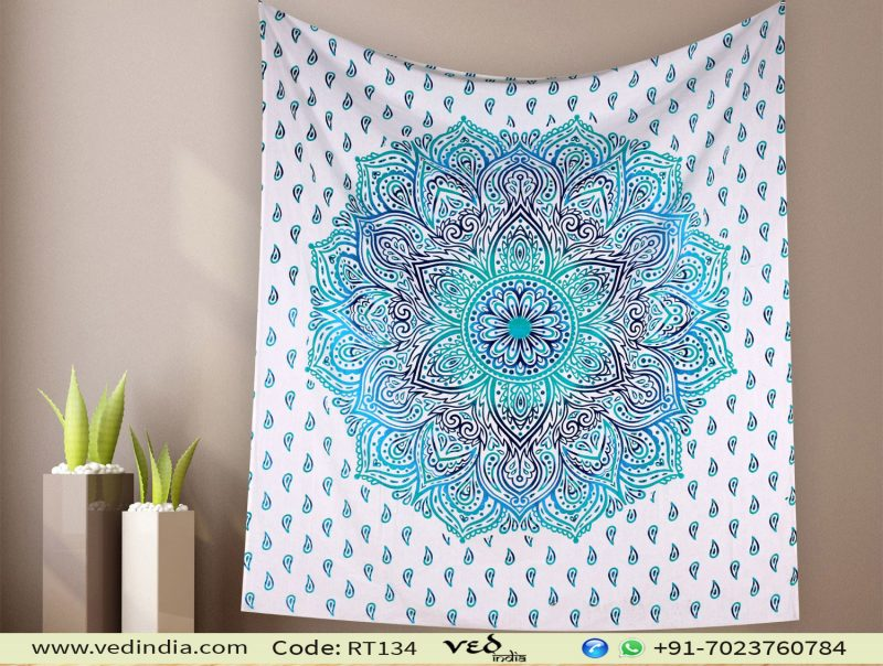 Block Printed Ombre Indian Tapestry