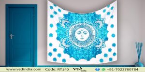Blue and White Tapestry Dorm Bedspread