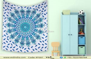 Blue Large Queen Mandala Bohemian Throw Tapestry-0