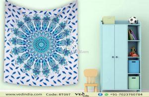 Blue Large Queen Mandala Bohemian Throw Tapestry-0
