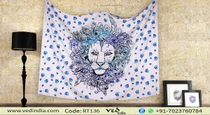 Blue Modern Lion Boho Tapestry