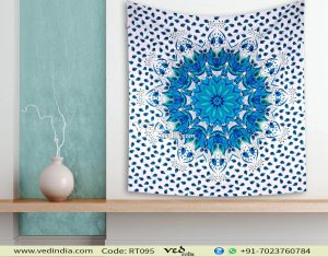 Blue Ombre Queen Mandala Tapestry Wall Hangings-0
