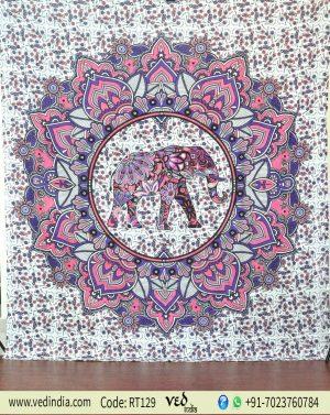 Ombre Elephant Twin Mandala Tapestry