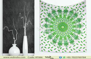 Green Ombre Hippie Indian Mandala Tapestry Bedspread -0