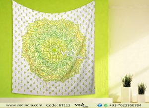 Green Ombre Indian Mandala Tapestry Bed Sheet -0