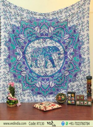 Blue Ombre Elephant Tapestry