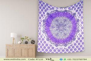 Lavender Floral Ombre Mandala Tapestry