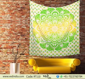 Ombre Hippie Mandala Bohemian Tapestry Yellow and Green-0