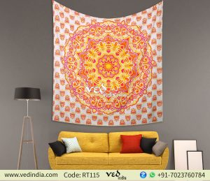 Orange Ombre Gypsy Large Mandala Tapestry Wall Hanging-0