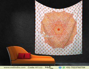 Hippie Trippy Orange Ombre Mandala Tapestry -0