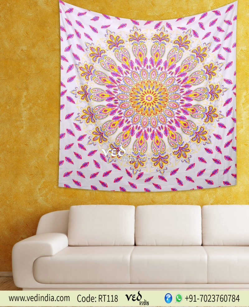 Pink Hippie Mandala Bohemian Floral Twin Queen Tapestry-0