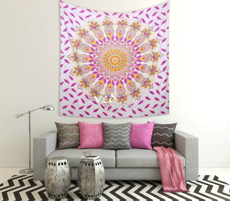 Pink Hippie Mandala Bohemian Floral Twin Queen Tapestry-3217
