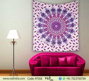 Purple Floral Twin Queen Mandala Bohemian Tapestry-0