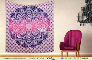 Purple Ombre Mandala Indian Wall Tapestry Bedding -0