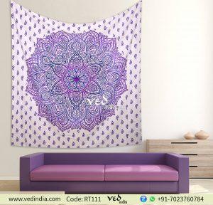 Purple Ombre Twin Mandala Bedding Tapestry-0