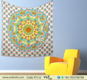 Queen Size Ombre HIppie Mandala Wall Tapestry -0