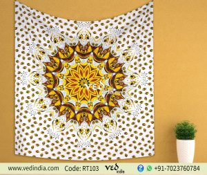 Yellow Ombre Queen Mandala Bohemian Throw Tapestry -0