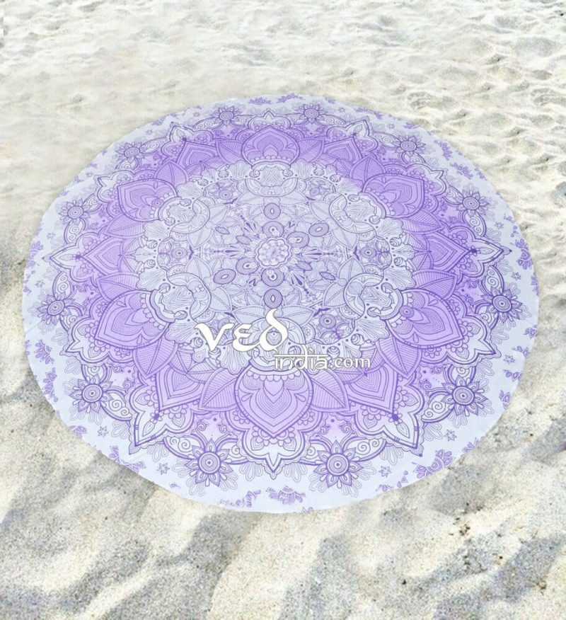 Beach Throw Mandala Round Tapestry Purple Ombre-3582