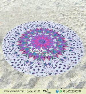 Beach Throw Towel Mandala Roundie Hippie Tapestry With Pom Pom-0