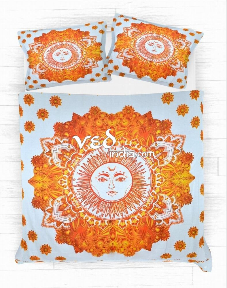 Indian Print Cotton Bed Sheets and Duvet Set With Sun Design-3767