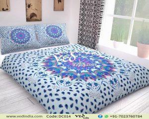 Blue Boho Chic Duvet Cover and Comforter Sets Leaf Pattern-0