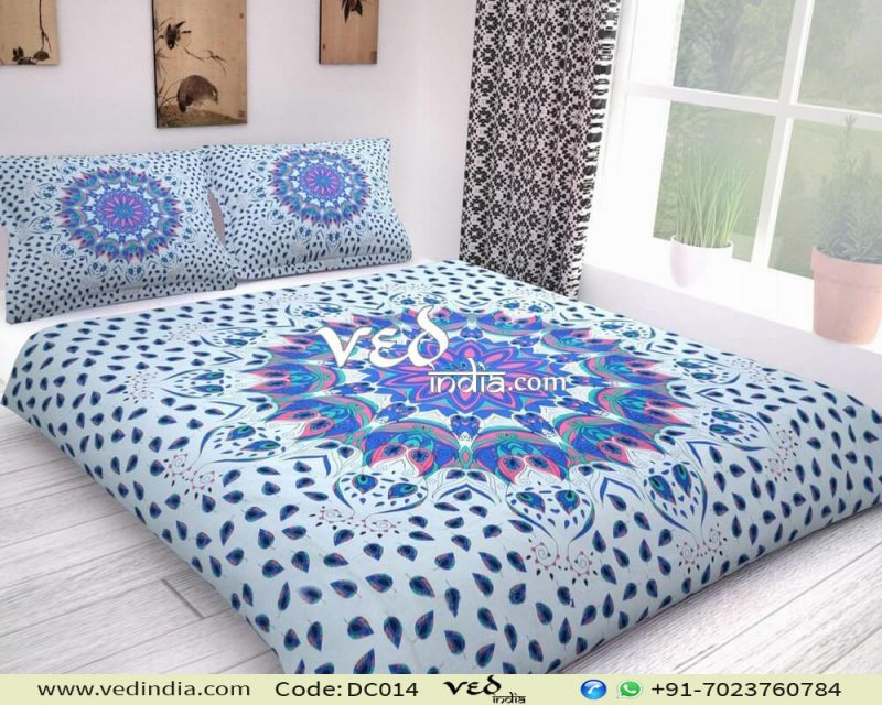 Blue Boho Chic Duvet Cover and Comforter Sets Leaf Pattern-0