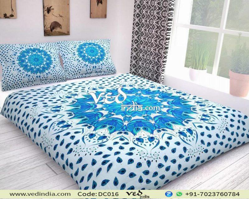 Blue Cotton Mandala Duvet Cover King in Leaf Print-0