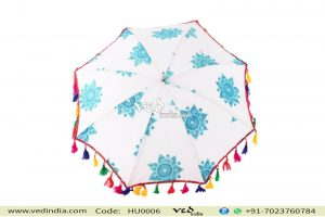 Handmade Indian Mandala Blue Foldable Umbrellas-0
