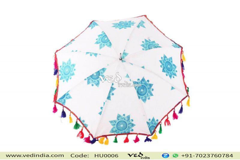 Handmade Indian Mandala Blue Foldable Umbrellas-0